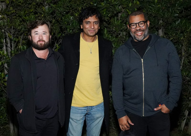 "haley joel osment, M. Night Shyamalan and Jordan Peele attend the Cinespia 20th anniversary screening of ""The Sixth Sense"" presented by Amazon Studios at Hollywood Forever on October 19, 2019 in Hollywood, California"