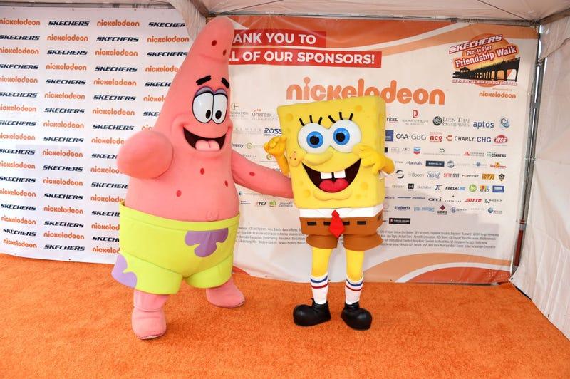 Patrick Star and SpongeBob SquarePants attend the 11th Annual Skechers Pier To Pier Friendship Walk on October 27, 2019 in Manhattan Beach, California.