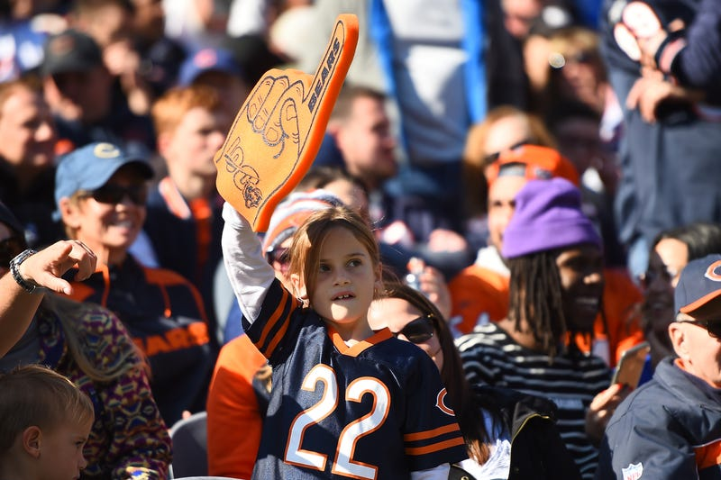 Fans of the Chicago Bears cheer during a game against the Los Angeles Chargers at Soldier Field on October 27, 2019 in Chicago, Illinois.