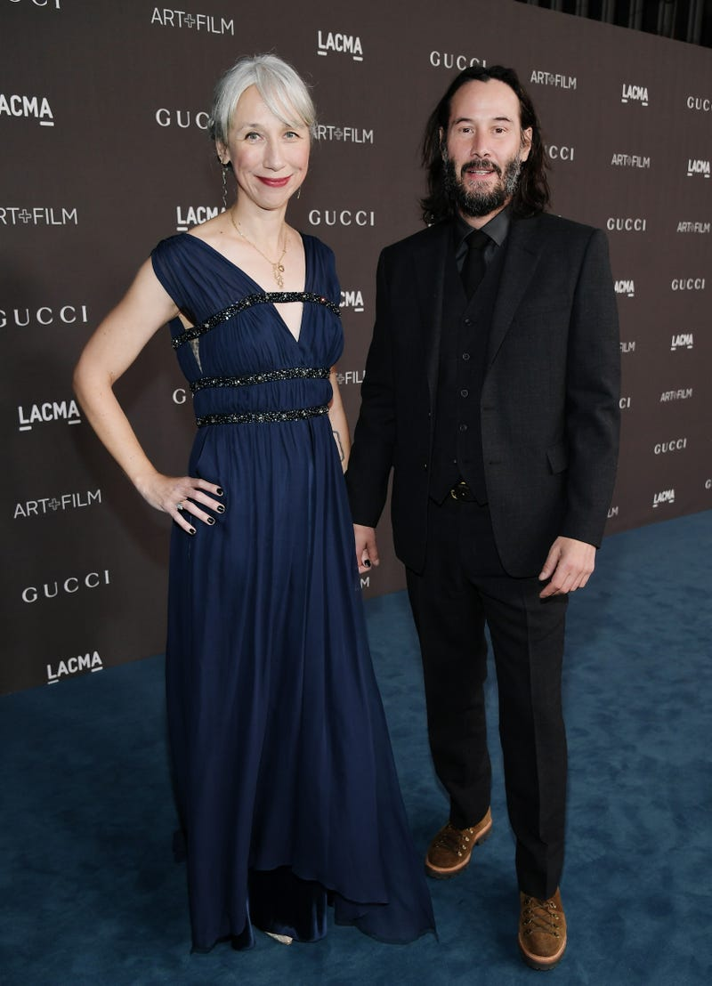 Alexandra Grant and Keanu Reeves attend the 2019 LACMA 2019 Art + Film Gala Presented By Gucci at LACMA on November 02, 2019 in Los Angeles, California.