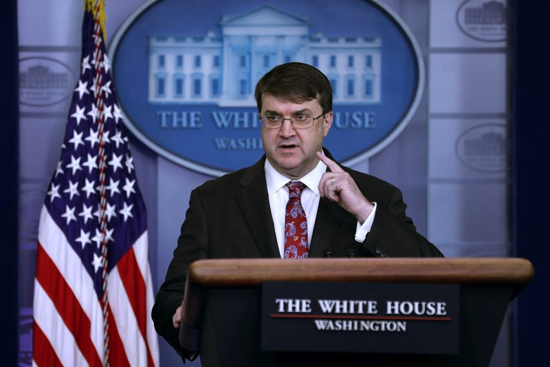 U.S. Veterans Affairs Secretary Robert Wilkie talks to reporters in the Brady Press Briefing Room at the White House November 08, 2019 in Washington, DC.