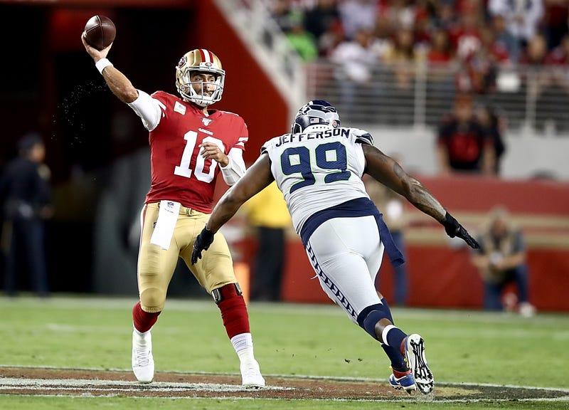 Quinton Jefferson charges 49ers quarterback Jimmy Garoppolo