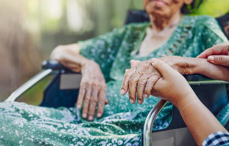 Elderly Woman, Wheelchair, Holding Hands