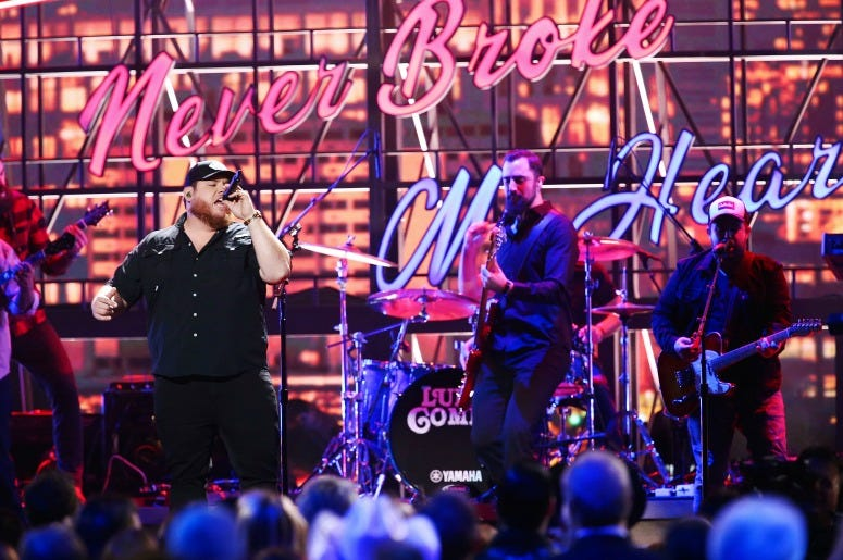 Luke Combs performs onstage during the 53rd annual CMA Awards
