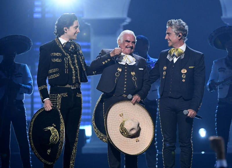 Alex Fernandez, Vicente Fernandez and Alejandro Fernández perform onstage during the 20th annual Latin GRAMMY Awards at MGM Grand Garden Arena on November 14, 2019 in Las Vegas, Nevada.