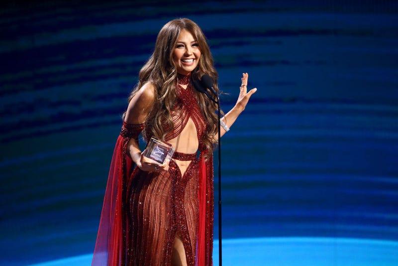 Thalia accepts award during the 20th annual Latin GRAMMY Awards at MGM Grand Garden Arena on November 14, 2019 in Las Vegas, Nevada.