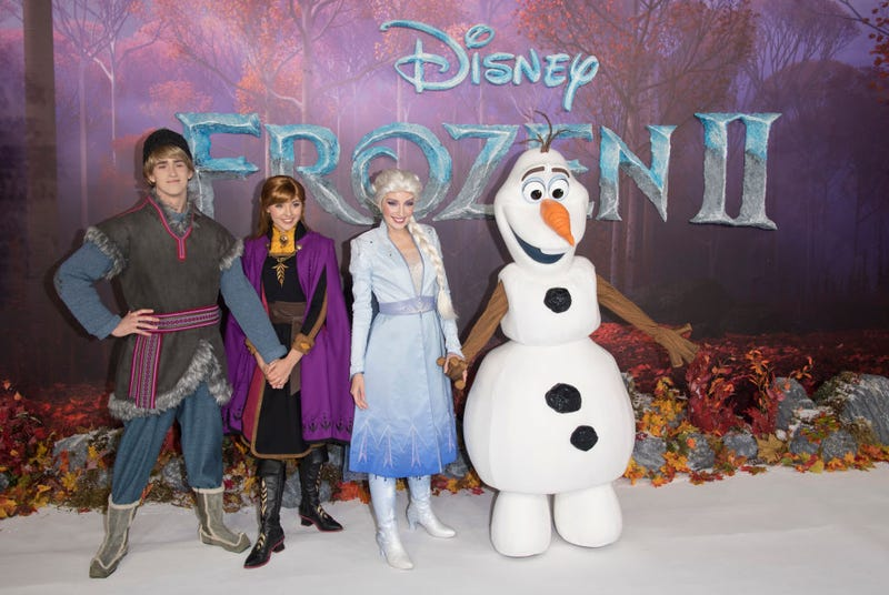 """Characters from Frozen attend the """"Frozen 2"""" European premiere at BFI Southbank on November 17, 2019 in London, England."""