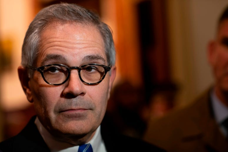 Philadelphia District Attorney Larry Krasner addresses the media after a press conference announcing Danielle Outlaw as the new Police Commissioner on December 30, 2019 in Philadelphia, Pennsylvania.