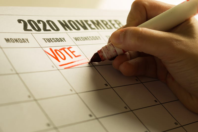 USA Presidential Vote reminder written on a 2020 November calendar. - stock photo