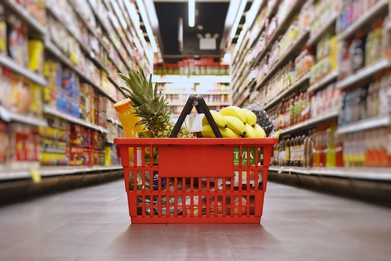 Grocery Store, Aisle, Basket, Groceries