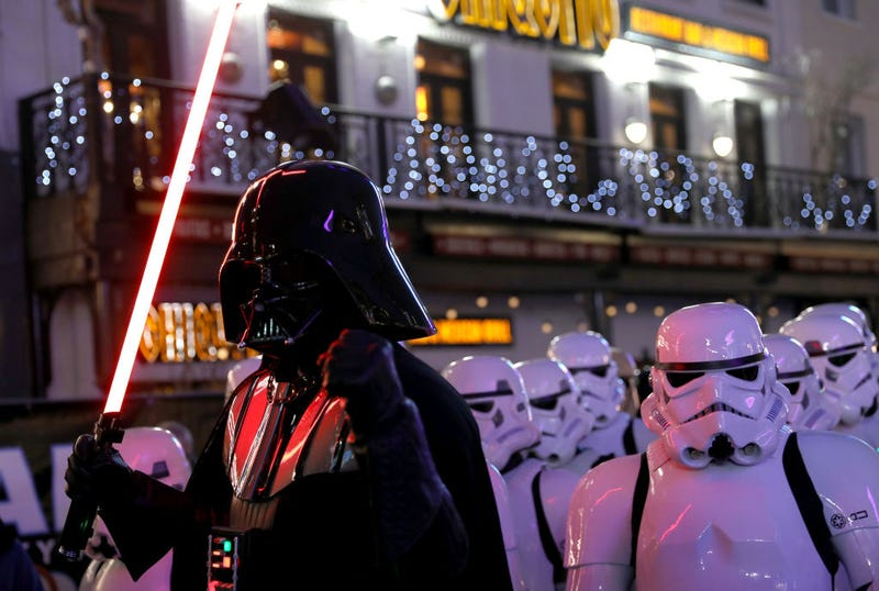 """The character of Darth Vader attends the """"Star Wars: The Rise of Skywalker"""" European Premiere at Cineworld Leicester Square on December 18, 2019 in London, England."""
