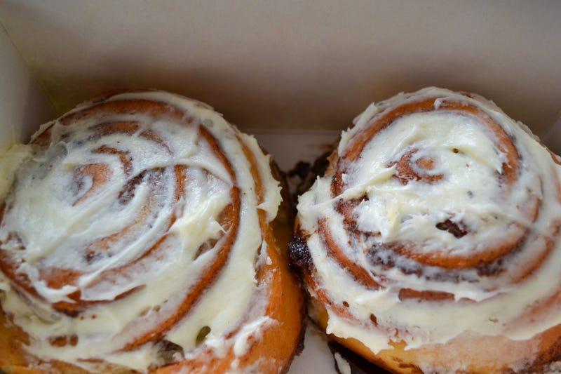 Icing on cinnamon buns