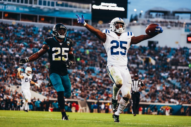 Marlon Mack rejoices after a touchdown in Jacksonville