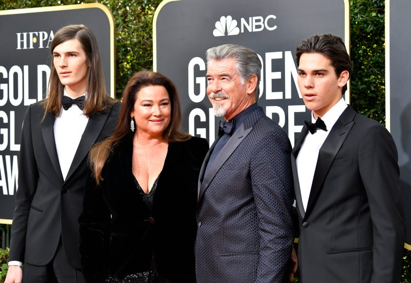 pierce brosnan with wife keely shaye smith and sons dylan and paris