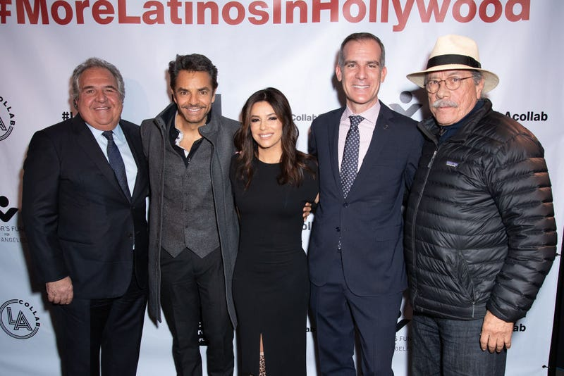 "Jim Gianopulos, Eugenio Derbez, Eva Longoria, Eric Garcetti, and Edward James Olmos attend Non Profit Launch Of ""LA Collab"" With Mayor Garcetti at The Boyle Heights Arts Conservatory on January 13, 2020 in Los Angeles, California."