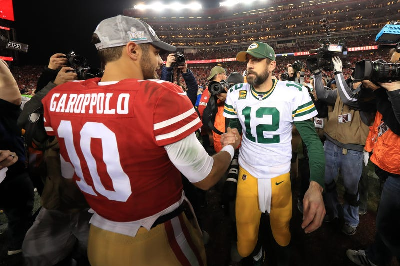 49ers QB Jimmy Garoppolo and Packers QB Aaron Rodgers.