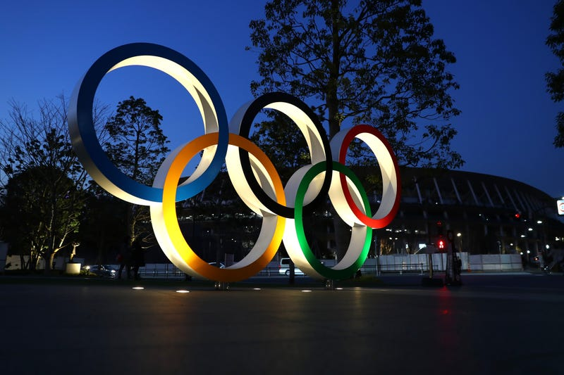 The Olympic rings staged in Tokyo.