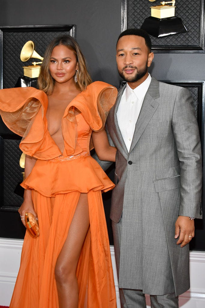 Chrissy Teigen and John Legend attends the 62nd Annual GRAMMY Awards at Staples Center on January 26, 2020 in Los Angeles, California.