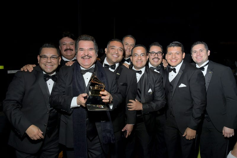"Mariachi Los Camperos, winners of Best Regional Mexican Music Album for ""De Ayer Para Siempre"", pose backstage during the 62nd Annual GRAMMY Awards Premiere Ceremony at Microsoft Theater on January 26, 2020 in Los Angeles, California."