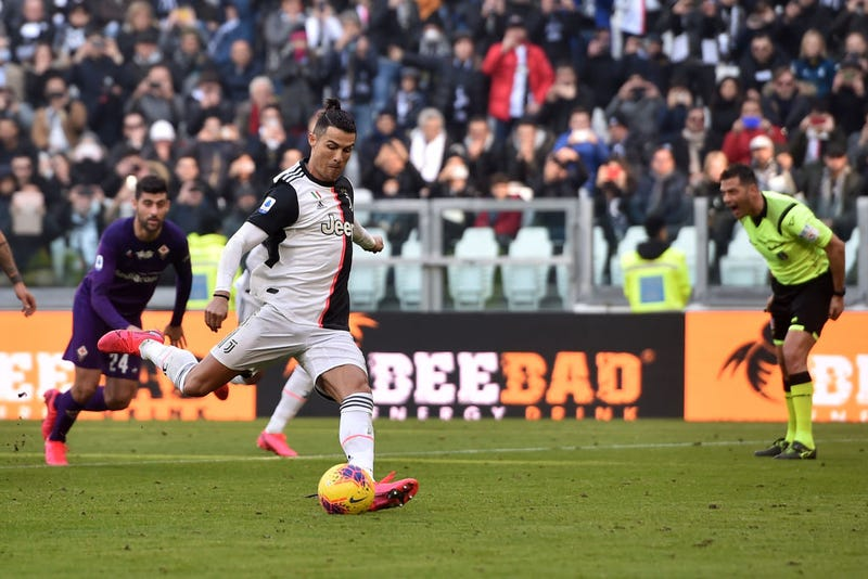 Cristiano Ronaldo of Juventus scores a penalty during the Serie A match between Juventus and ACF Fiorentina at Allianz Stadium on February 02, 2020 in Turin, Italy.