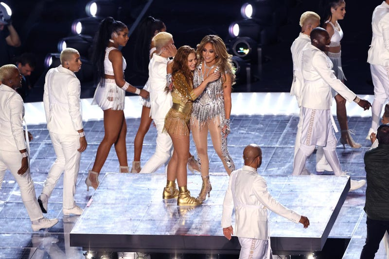: Singers Shakira and Jennifer Lopez perform during the Pepsi Super Bowl LIV Halftime Show at Hard Rock Stadium on February 02, 2020 in Miami, Florida.