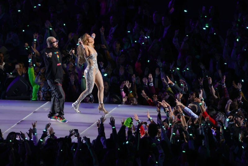 Singer Jennifer Lopez performs with J Balvin during the Pepsi Super Bowl LIV Halftime Show at Hard Rock Stadium on February 02, 2020 in Miami, Florida.