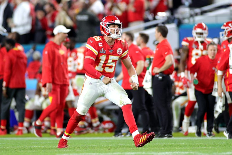 A pumped-up Patrick Mahomes after zinging a touchdown in Super Bowl LIV