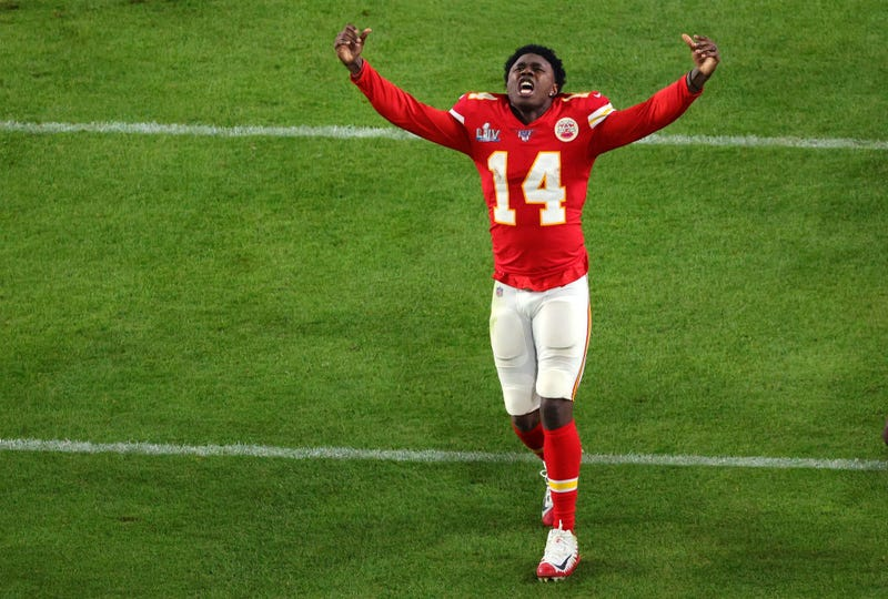 Sammy Watkins celebrates the Chiefs' Super Bowl victory.