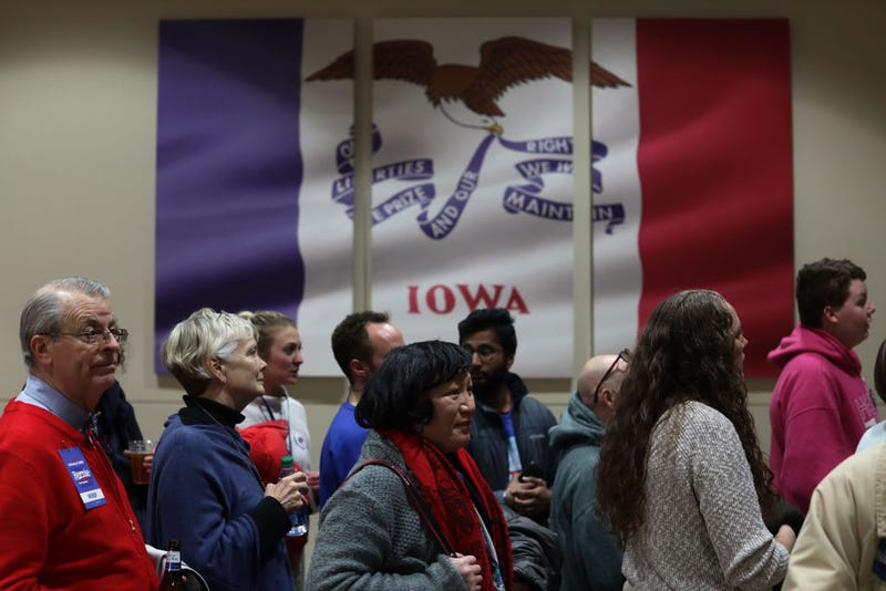 Supporters wait to enter a caucus night event of Democratic president candidate Sen. Bernie Sanders (I-VT) February 3, 2020 in Des Moines, Iowa. Iowa is the first contest in the 2020 presidential nominating process with the candidates then moving on to New Hampshire.