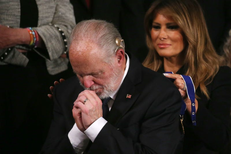 Radio personality Rush Limbaugh reacts as First Lady Melania Trump prepares to give him the Presidential Medal of Freedom during the State of the Union address in the chamber of the U.S. House of Representatives on February 04, 2020 in Washington, DC.