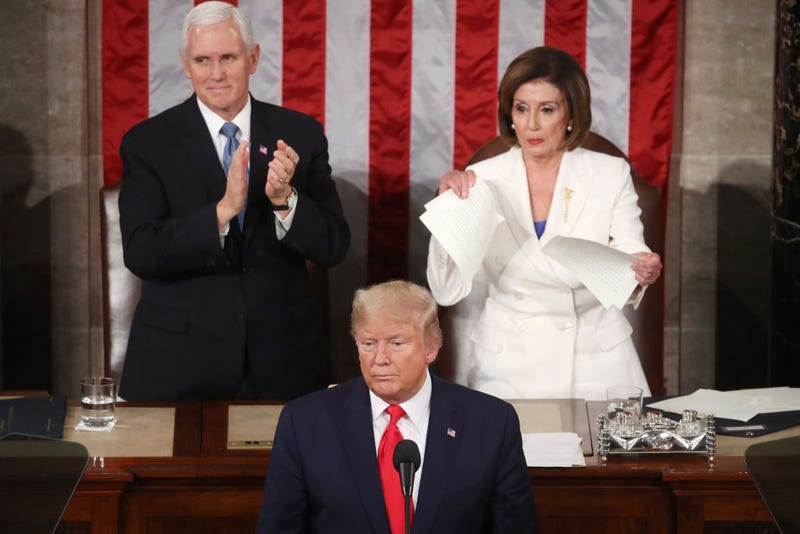 House Speaker Rep. Nancy Pelosi (D-CA) rips up pages of the State of the Union speech after U.S. President Donald Trump finishes his State of the Union speech in the chamber of the U.S. House of Representatives on February 04, 2020 in Washington, DC. President Trump delivers his third State of the Union to the nation the night before the U.S. Senate is set to vote in his impeachment trial.