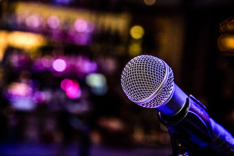 Microphone in bar during karaoke night