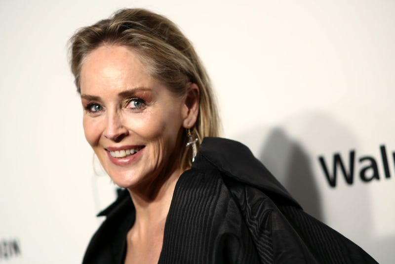Sharon Stone walks the red carpet at the Elton John AIDS Foundation Academy Awards Viewing Party