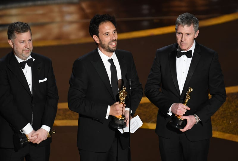 Greg Butler, Guillaume Rocheron, and Dominic Tuohy accept the Visual Effects award for '1917' onstage during the 92nd Annual Academy Awards at Dolby Theatre on February 09, 2020 in Hollywood, California