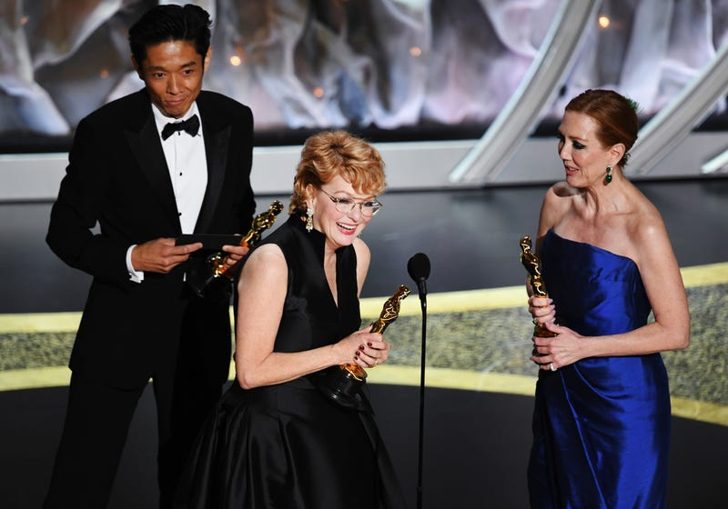 Kazu Hiro, Vivian Baker, and Anne Morgan accept the Makeup and Hairstyling award for 'Bombshell' onstage during the 92nd Annual Academy Awards at Dolby Theatre on February 09, 2020 in Hollywood, California