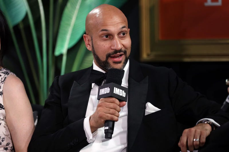 Keegan-Michael Key speaks onstage at IMDb LIVE Presented By M&M'S At The Elton John AIDS Foundation Academy Awards Viewing Party on February 09, 2020 in Los Angeles, California.