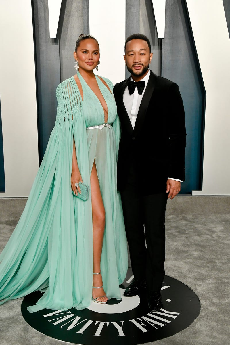 chrissy teigen and john legend at 2020 vanity fair oscars after party