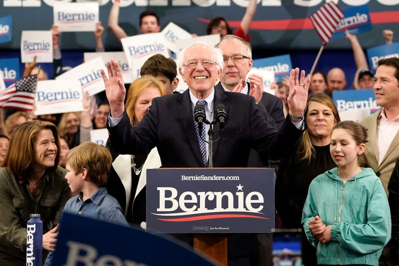 Democratic presidential candidate Sen. Bernie Sanders (I-VT) speaks during a primary night event on February 11, 2020 in Manchester, New Hampshire. New Hampshire voters cast their ballots today in the first-in-the-nation presidential primary.