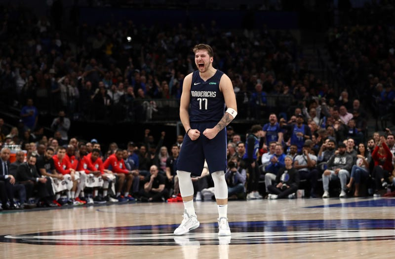 Dallas guard Luka Doncic shows his approval after a big play