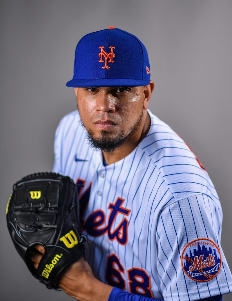 Reliever Dellin Betances donning his Mets threads for the first time
