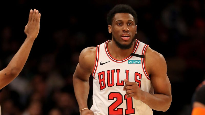 Thaddeus Young runs down the floor for the Chicago Bulls.