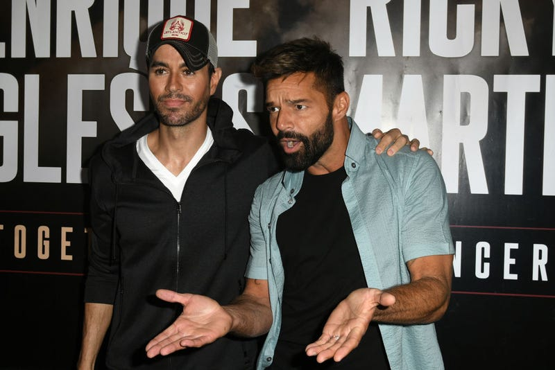 Enrique Iglesias (L) and Ricky Martin hold a press conference at Penthouse at the London West Hollywood on March 4, 2020 in West Hollywood, California.
