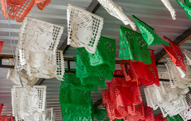 Red, green and red Mexican bunting Papel Picado Mexico