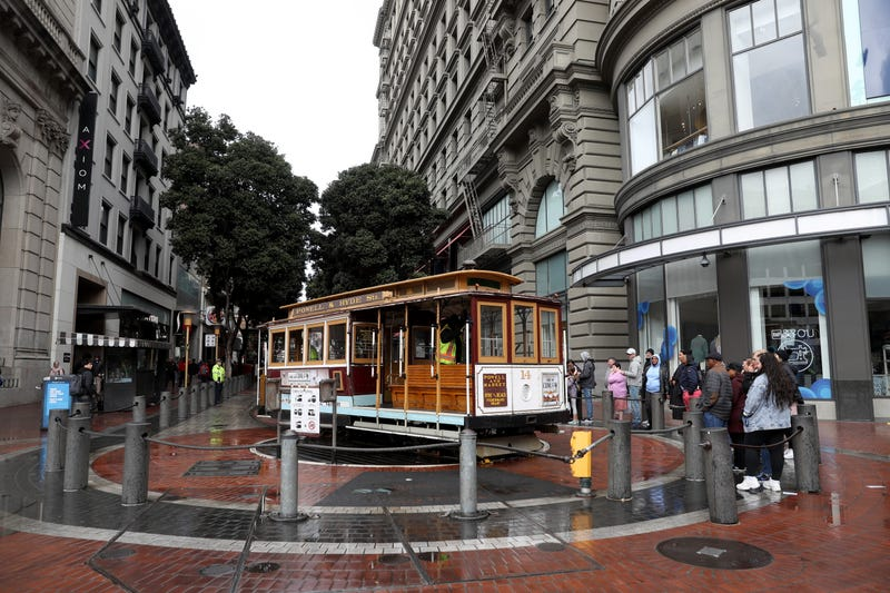 A usually busy Powell Street Cable Car turnaround has a short line to ride the Cable Cars on March 07, 2020 in San Francisco, California