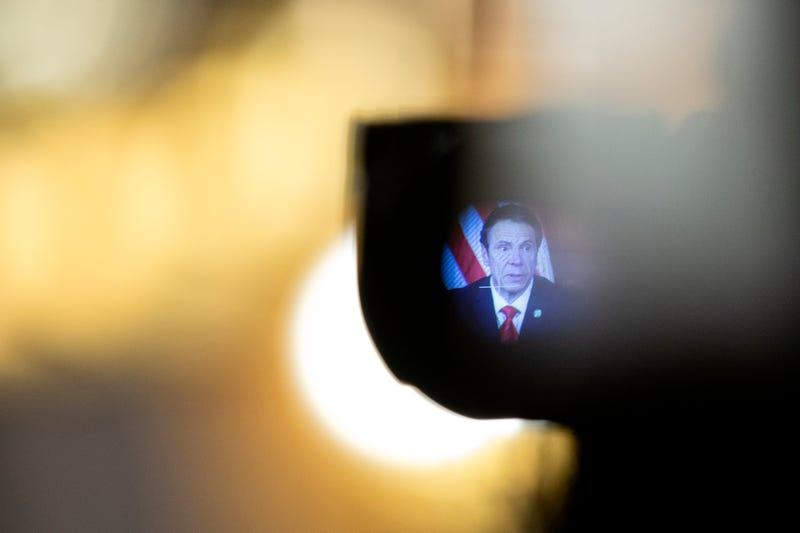 Governor Andrew Cuomo, seen through the viewfinder of a television camera, speaks during his daily press briefing on May 1, 2020 in Albany, New York.