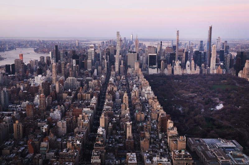 Dawn breaks over Manhattan as the city struggles to contain the number of coronavirus cases on March 18, 2020 in New York City.
