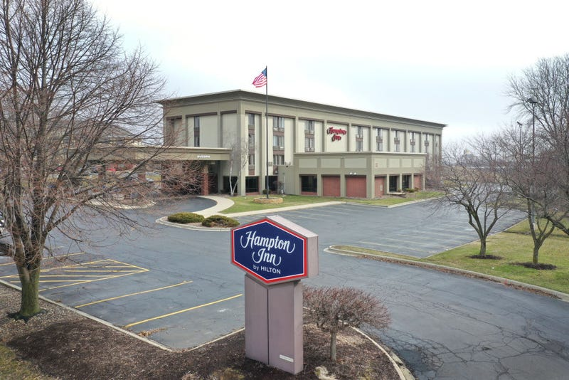 The parking lot is nearly at a Hampton Inn hotel on March 24, 2020 in Rockford, Illinois.