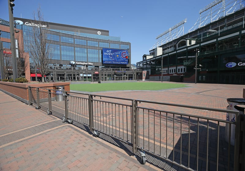 A view of the closed park of Gallagher Way next to Wrigley Field
