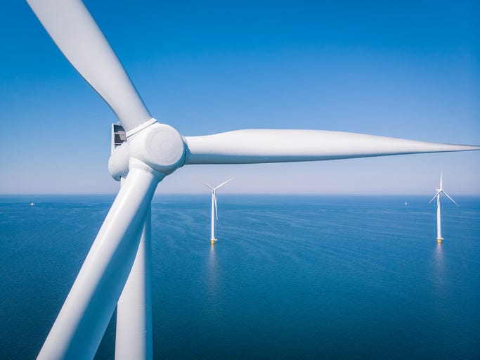 Wind turbine from aerial view