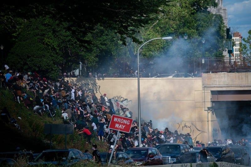 Philadelphia police tear gas expressway protesters